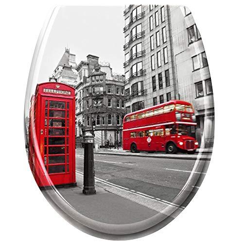 UISEBRT WC Sitz mit Absenkautomatik - WC Klodeckel Toilettensitz mit langsamer Absenkung - Verschiedene Muster zur Auswahl (London) -