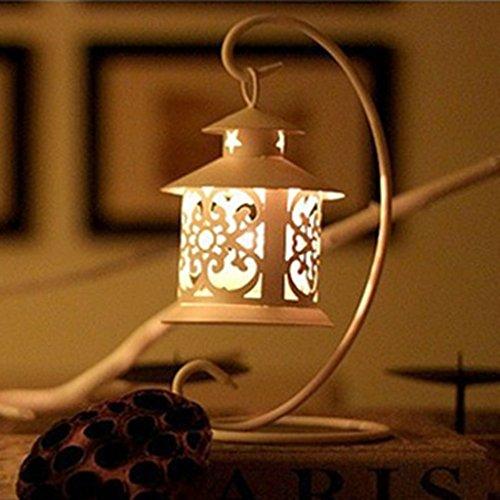 Sharplace Hänge Laterne Metall Windlicht Wandlaterne Antik Kerzenhalter Lampe Gartenlampe - Weiß