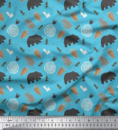 Soimoi Blau Baumwolle Batist Stoff wildes Leben Tier Drucken Nahen Stoff 1 Meter 56 Zoll breit