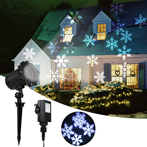 Greenclick Christmas Decoration Projector Lights IP65 Waterproof Decoration Spotlights Moving Snowflake Lamp LED Outdoor Landscape Projector For Halloween Wedding Party Festival Use【Wire 5m/16.4ft】