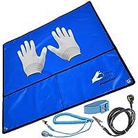 Minadax® 60 x 60cm Antistatik-Set: Antistatikmatte in Blau Handgelenksschlaufe und Erdungskabel + VSGO Antistatik Handschuhe - Fuer ein sicheres Arbeiten und Schutz Ihrer Bauteile vor Entladungsschaeden