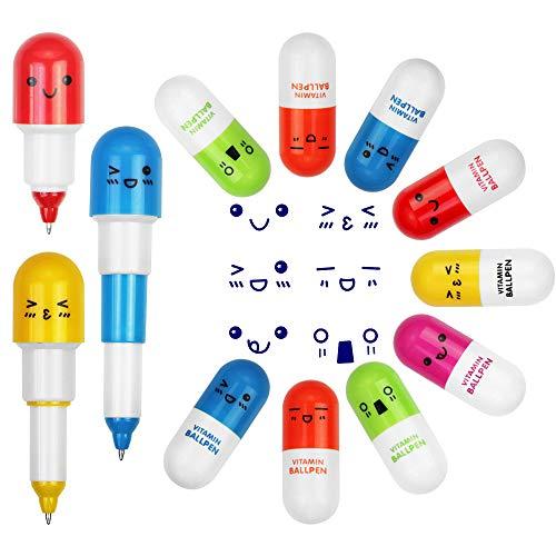 EMAGEREN 24pcs Bolígrafos de Cápsula, Bolígrafos Retráctiles de Cápsula, Bolígrafos de Píldora, Tinta Azul, Ideal para Regalo a Niños/Adulto/Farmacéuticos, Usar en Oficina/Clase/Hogar