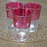 Moroccan Bazaar Juego de Vasos de té marroquí (6 Unidades, Cristal), Color Rosa