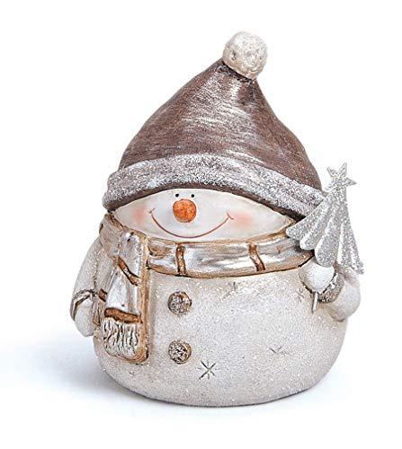 TEMPELWELT Deko Figur Schneemann Dick Rund Mit Mütze Tanne Baum 12 cm, Ton grau Silber, Tonfigur Dekofigur Winter Weihnachten Winterdeko