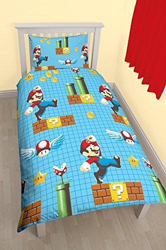 Bettwäsche-Set, Motiv: Nintendo Mario Maker, bedrucktes Bettbezug-Set, Polyester, mehrfarbig, für Einzelbett