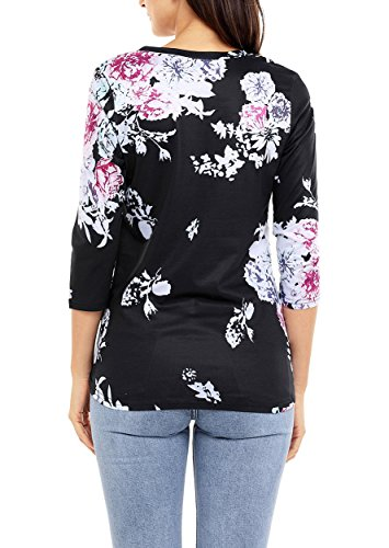 Nicetage Langarmshirt Damen T Shirt Blumen Rundhals Pullover Bluse Oberteil Tops 03-Schwarz