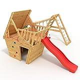 BIBEX® Spielturm - Wunderhäuschen + Rutsche, 2xSchaukel, Knotennetz, Klettersteine, Möbel Rote Rutsche/Schaukel