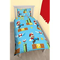 Nintendo Juego de funda nórdica reversible, poliéster-algodón, multicolor, cama individual, diseño de Mario