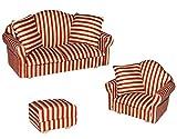 Unbekannt 3 TLG. Set: Miniatur Wohnlandschaft / Sofa Couch + Sessel + Hocker mit Kissen - für Puppenstube Maßstab 1:12 - rot weiß golden - gestreift - Puppenhaus Puppen..