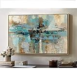 Orlco Art Toile de haute qualité peinte à la main, abstraite, moderne, d'origine - Art contemporain, bleue-verte, décoration murale, texture, grande œuvre d'art, Toile, Green, 32x48inch(80x120cm)