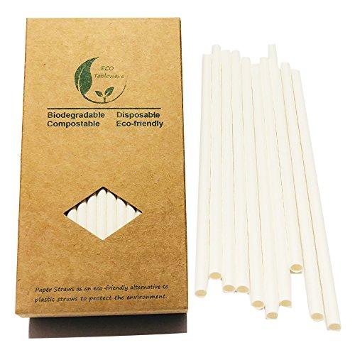 BOFA STRAWS Pajitas de Papel Blanco Liso, 100 Unidades de Papel Kraft reciclable (Blanco)
