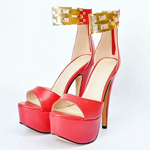 Kolnoo Femmes Handmade High Heels Pompes Gladiator Sandal Strappy bout ouvert bout pointu Scandals Party Shoes Reds