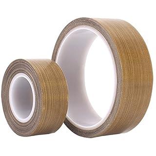 PTFE Coated Fiberglass Teflon Tape,high Temperature Tape;Drying Mechanical Conveyor Belt; Welding Sealing Tape, Thickness 0.13mm,Length 10m, -196℃ - +300℃ (30mm X 11yards X 0.13mm(Brown))