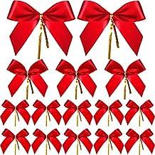 Sumind 36 Piezas de Lazo de Navidad Lazo de Cinta Rojo Lazo de Envolver Regalo para