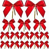 Arcos de regalo con lazo rojo de Navidad de 36 piezas para decoración navideña en 3 tamaños diferentes Hermosa fila de la cinta: Material de calidad, las cintas son texturadas, de superficie lisa, de colores brillantes y sin decoloración. Laz...