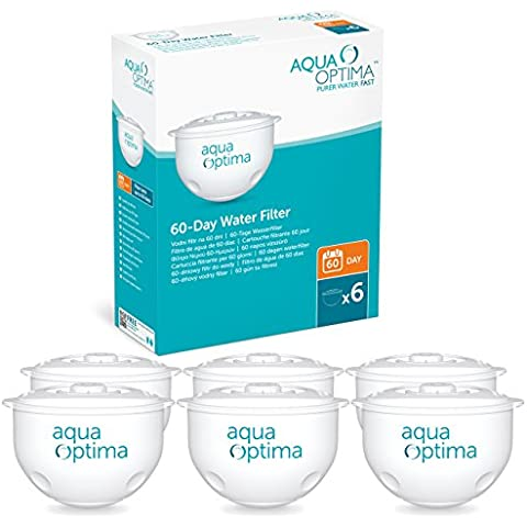 Aqua Optima SWP336 - Paquete de 6 filtros de agua para 60 días, 1 año de agua filtrada