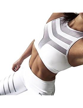 Sujetadores deportivos fitness mujer push up sport BH con aplicaciones de malla y patch