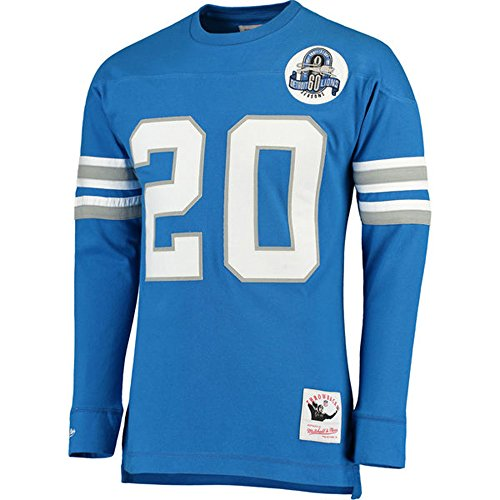 Mitchell & Ness Barry Sanders Detroit Lions Throwback Name & Nummer Lange Ärmel T-Shirt, Herren, Blau, Small