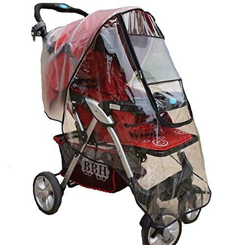 Pushchair Rain Cover, Baby Stroller Buggy Raincover Weather Shield for Protection Against Rain Snow Wind Sleet Dust Travel Outdoor Clear EVA Transparent