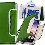 numia HTC One S Hülle, Handyhülle Handy Schutzhülle [Book-Style Handytasche mit Standfunktion und Kartenfach] Pu Leder Tasche für HTC One S Z520e Case Cover [Grün-Weiss]
