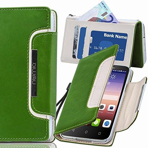 numia Huawei Ascend P6 Hülle, Handyhülle Handy Schutzhülle [Book-Style Handytasche mit Standfunktion und Kartenfach] Pu Leder Tasche für Huawei Ascend P6 Case Cover [Grün-Weiss]