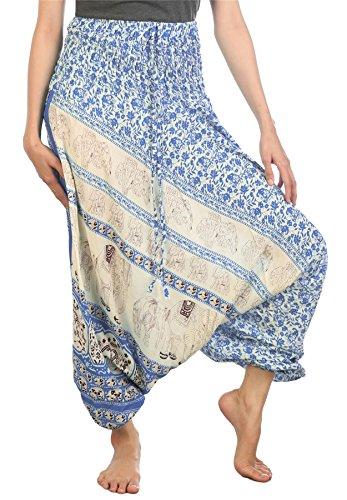 Lofbaz Mujeres Floral Elefante Smocked Mono Harén Pantalones Azul XL