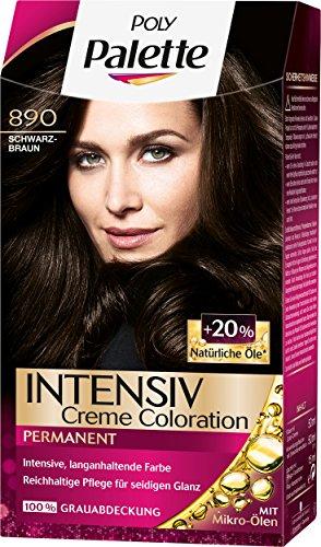 Poly Palette Intensiv Creme Coloration, 890 Schwarzbraun Stufe 3, 3er Pack (3 x 115 ml) -