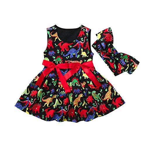 Huhu833 Baby Kleid, 2 Stück Kleinkind Baby Mädchen Cartoon Dinosaurier ärmelloses Kleid + Stirnband Kleidung Outfits (Schwarz, 12M-80CM) (Mädchen Baby 12m 2 Stück)