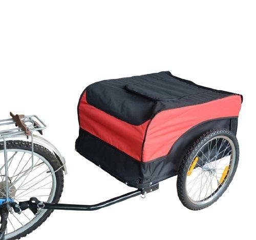 Homcom carrello per bici rimorchio per bicicletta rosso/nero