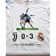 SpotApplick T Shirt Maglia Uomo Donna Cristiano Ronaldo 7 Champions Rovesciata Juventus Real Madrid (XL)