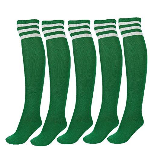 CHIC DIARY Damen Mädchen Kinder Strümpfe Overknee Kniestrümpfe gestreifte Sportsocken College Socks Baumwollstrümpfe, Weiß Streifen auf Grün -5 Paare/Set, Einheitsgröße (Paare Kostüme Mädchen)