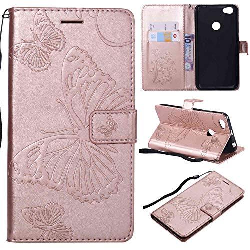 Ycloud PU Leder Tasche für Xiaomi Redmi Note 5A Prime Cover aus Kunstleder Wallet Flipcase mit Standfunktion Kartenfächer Entwurf Rose Gold Schmetterling Hülle für Xiaomi Redmi Note 5A Prime