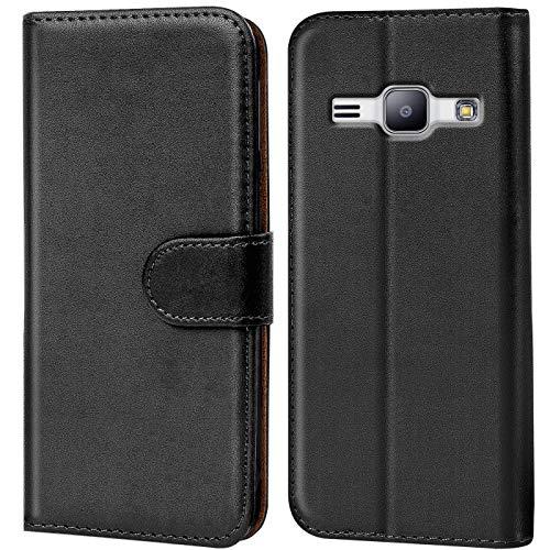 Verco Galaxy J1 Mini 2016 Hülle, Handyhülle für Samsung Galaxy J1 Mini Tasche PU Leder Flip Case Brieftasche - Schwarz