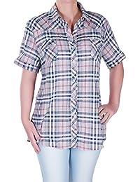 Eyecatch - Damen Kariertered Lässig Damen Plus Größe Kariert Bluse Hemd