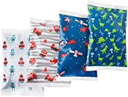 Ice Pack for Lunch Boxes - 4 Reusable Packs - Keeps Food Cold - Cool Print Bag Designs - Great for Kids or Adu