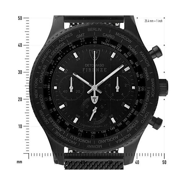 DETOMASO Firenze XXL Reloj Caballero Cronógrafo Analógico Cuarzo Negro
