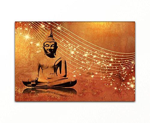 Bilderfabrik - Kunstdruck Buddha - auf Leinwand und Holzkeilrahmen bespannt. Beste Qualität, handgefertigt in Deutschland. (60 x 80 cm)