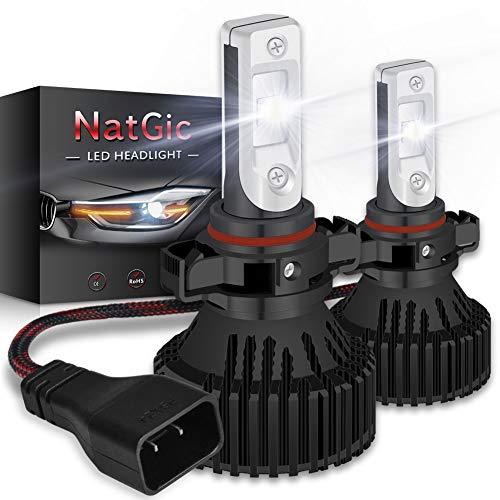 NATGIC PSX24W Kit de Conversion D'ampoules de Phare Ampoules à DEL Super Brillantes 16000LM 16 jetons XHP50 Blanc pur 6500K étanche, DC 9-32V, Garantie de 2 ans (pack de 2)