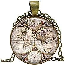 Mapa del mundo collar, colgante de mapa del mundo, mapa del mundo viajero joyas, arte de cúpula de cristal colgante con bolsa de regalo, regalo, regalo de Globetrotter