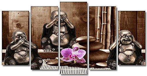 DekoArte 35 – Cuadro moderno, lienzo de 5 piezas, 3 Budas sobre fondo Zen de color marrón