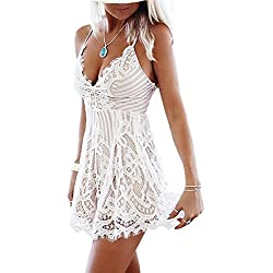 Vandot Women's Floral Lace V Neck Sling Sleeveless Boho Short Summer Dresses Casual Beach Party Dress Backless Evening Cocktail Party Mini Dress Clubwear for Ladies Girls, White M