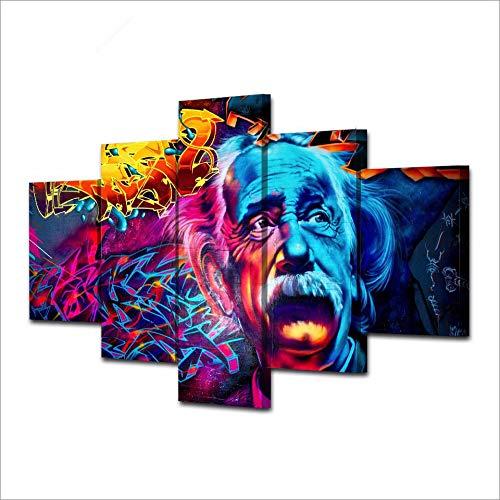 Yyjyxd Modulare Poster Bilder Leinwand Kunst 5 Stücke Farbe Abstrakt Albert Einstein Landschaft Gemälde Rahmen Dekor Raum Wand HD Drucke-12x16/24/157inch,With frame