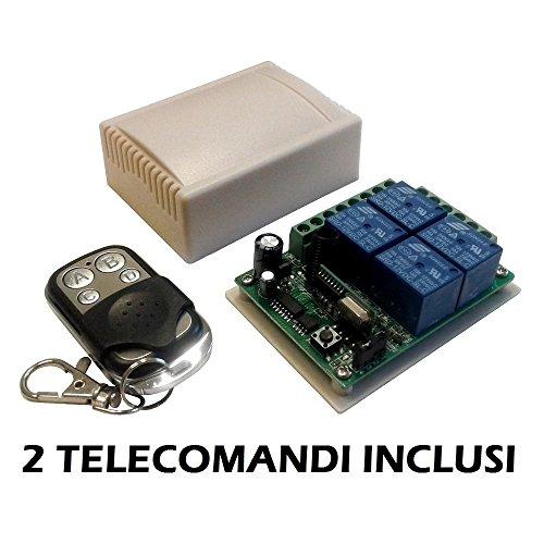 Modulo Scheda relè ricevitore 4 canali Ch 12V 10A + 2 telecomandi 433MHz controllo remoto wireless cancelli serrande luci domotica interruttore ricevente relay 12Vdc