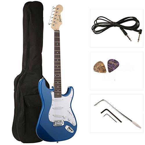 Juarez ST38 Electric Guitar Kit/Set, Right Handed, Blue, With Case/Bag & Picks