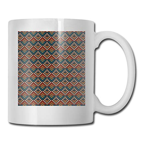 Jolly2T Funny Ceramic Novelty Coffee Mug 11oz,Ethnic Knitted Seem Jacquard View Fabric Geometric Image,Unisex Who Tea Mugs Coffee Cups,Suitable for Office and Home -