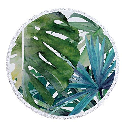 Grünes Blatt Mikrofaser gedruckt Runde Strandtuch Schal Handtuch-01 150 * 150cm -
