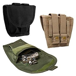 ATG Tactical Single Handcuff Pouch MOLLE PALS PVC Black (Tan)