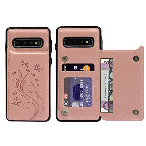 Promixc für Galaxy S10 Hülle, Premium Leder Flip Schutzhülle Doppelt Magnetic Snap mit Ständer Funktion Case Cover Brieftasche Handyhülle für Samsung Galaxy S10 - Rosa Gold Schutzhülle Flip Case