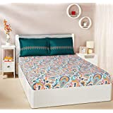 Amazon Brand - Solimo Paisley Preen 144 TC 100% Cotton Double Bedsheet with 2 Pillow Covers, Green and Orange