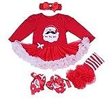 BabyPreg® Baby Mädchen Mein erstes Weihnachten Sankt Kostüm-Partei-Kleid 4PCS (XL12-18 Monate, Weihnachten Sankt Lange Hülse)
